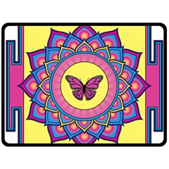 Butterfly Mandala Fleece Blanket (Large)