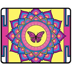 Butterfly Mandala Fleece Blanket (Medium)
