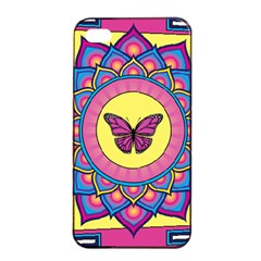Butterfly Mandala Apple Iphone 4/4s Seamless Case (black)