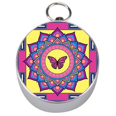Butterfly Mandala Silver Compasses