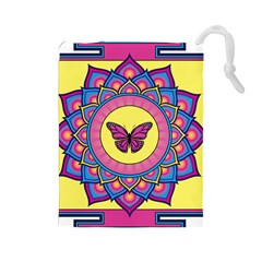 Butterfly Mandala Drawstring Pouches (large)