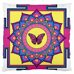 Butterfly Mandala Large Flano Cushion Cases (One Side)