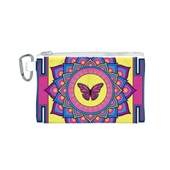 Butterfly Mandala Canvas Cosmetic Bag (S)