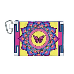 Butterfly Mandala Canvas Cosmetic Bag (M)