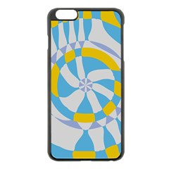 Abstract flower in concentric circles Apple iPhone 6 Plus Black Enamel Case
