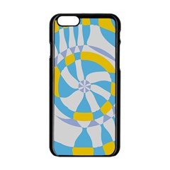 Abstract Flower In Concentric Circles Apple Iphone 6 Black Enamel Case