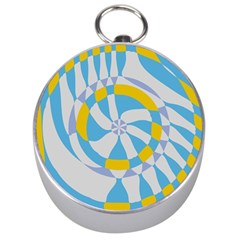 Abstract Flower In Concentric Circles Silver Compass