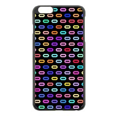 Colorful Round Corner Rectangles Pattern Apple Iphone 6 Plus Black Enamel Case