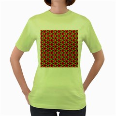 Lovely Trendy Pattern Background Pattern Women s Green T Shirt