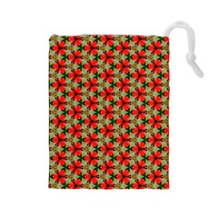 Lovely Trendy Pattern Background Pattern Drawstring Pouches (large)