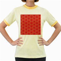 Lovely Orange Trendy Pattern  Women s Fitted Ringer T-Shirts
