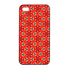 Lovely Orange Trendy Pattern  Apple Iphone 4/4s Seamless Case (black)