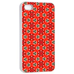 Lovely Orange Trendy Pattern  Apple Iphone 4/4s Seamless Case (white)