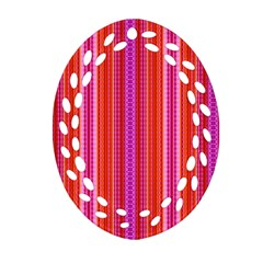 Orange Tribal Aztec Pattern Oval Filigree Ornament (2 Side)