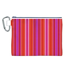 Orange tribal aztec pattern Canvas Cosmetic Bag (L)