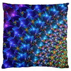 Blue Sunrise Fractal Large Flano Cushion Case (Two Sides)