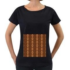 Faux Animal Print Pattern Women s Loose Fit T Shirt (black)