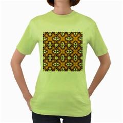 Faux Animal Print Pattern Women s Green T Shirt