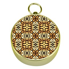 Faux Animal Print Pattern Gold Compasses