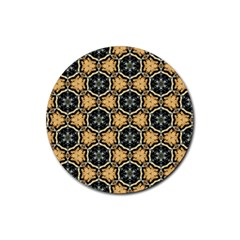 Faux Animal Print Pattern Rubber Round Coaster (4 Pack)