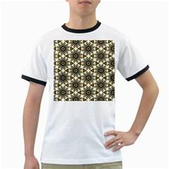 Faux Animal Print Pattern Ringer T Shirts