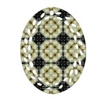 Faux Animal Print Pattern Oval Filigree Ornament (2-Side)  Back
