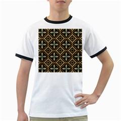 Faux Animal Print Pattern Ringer T-Shirts