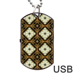 Faux Animal Print Pattern Dog Tag USB Flash (One Side)