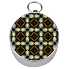 Faux Animal Print Pattern Silver Compasses