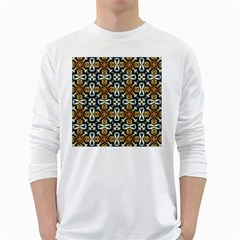Faux Animal Print Pattern White Long Sleeve T Shirts