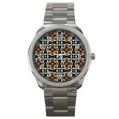 Faux Animal Print Pattern Sport Metal Watches