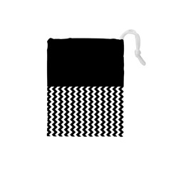 Blackandwhitechevron6000 Drawstring Pouches (Small)