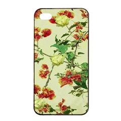 Vintage Style Floral Design Apple iPhone 4/4s Seamless Case (Black)