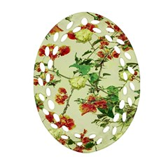 Vintage Style Floral Design Oval Filigree Ornament (2 Side)