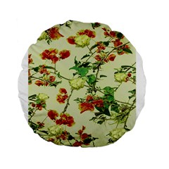 Vintage Style Floral Design Standard 15  Premium Flano Round Cushions