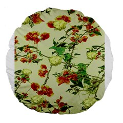 Vintage Style Floral Design Large 18  Premium Flano Round Cushions