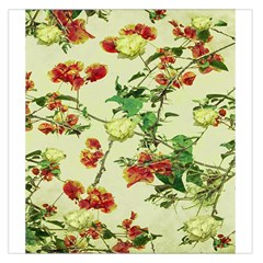 Vintage Style Floral Design Large Satin Scarf (Square)
