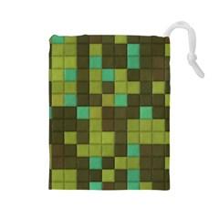 Green tiles pattern Drawstring Pouch