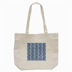 Chinoiserie Striped Floral Print Tote Bag (Cream)