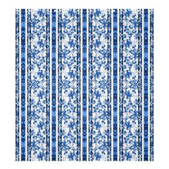 Chinoiserie Striped Floral Print Shower Curtain 66  x 72  (Large)