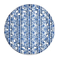 Chinoiserie Striped Floral Print Ornament (Round Filigree)