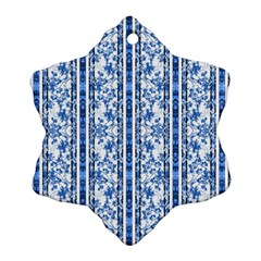 Chinoiserie Striped Floral Print Snowflake Ornament (2 Side)