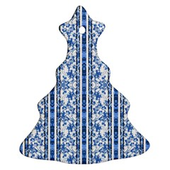 Chinoiserie Striped Floral Print Christmas Tree Ornament (2 Sides)