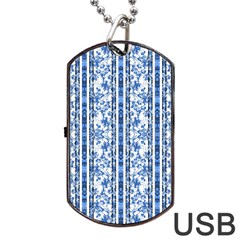 Chinoiserie Striped Floral Print Dog Tag USB Flash (One Side)