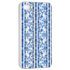 Chinoiserie Striped Floral Print Apple iPhone 4/4s Seamless Case (White)