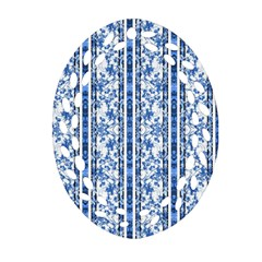 Chinoiserie Striped Floral Print Oval Filigree Ornament (2 Side)