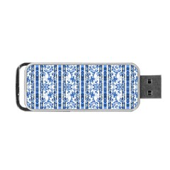 Chinoiserie Striped Floral Print Portable USB Flash (One Side)