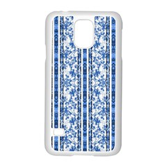 Chinoiserie Striped Floral Print Samsung Galaxy S5 Case (White)