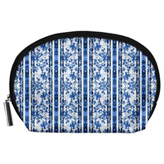 Chinoiserie Striped Floral Print Accessory Pouches (large)