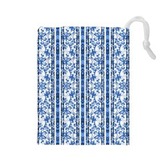 Chinoiserie Striped Floral Print Drawstring Pouches (large)